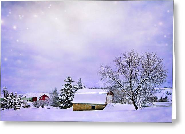 Bard Greeting Cards - Moonlit Farm Greeting Card by Theresa Tahara