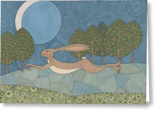 Moonlit Night Drawings Greeting Cards - Moonlit Joy Greeting Card by Pamela Schiermeyer