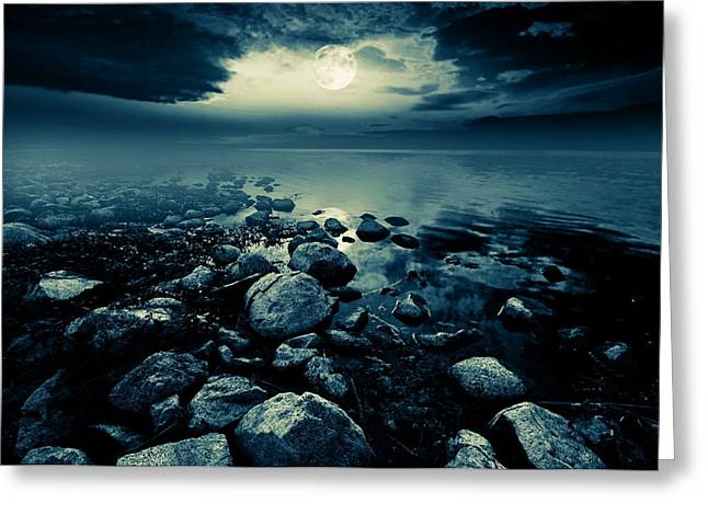 Evening Scenes Greeting Cards - Moonlit lake Greeting Card by Jaroslaw Grudzinski
