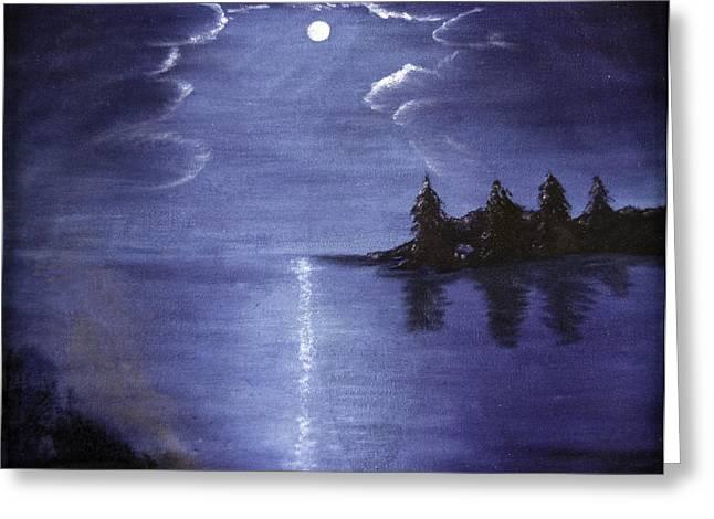 Judy Hall-folde Greeting Cards - Moonlit Lake Greeting Card by Judy Hall-Folde