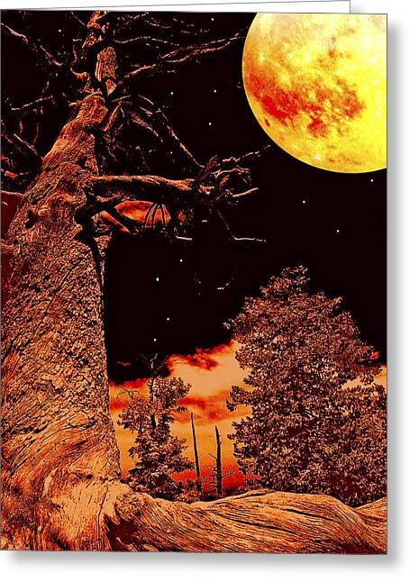 Forboding Greeting Cards - Moonlit Landscape Fantasy Digital Painting Greeting Card by A Gurmankin