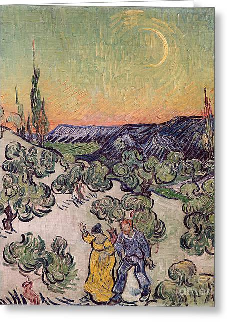 Moonlit Landscape Greeting Card by Vincent Van Gogh