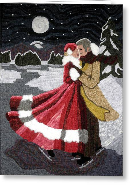 Romantic Tapestries - Textiles Greeting Cards - Moonlit Lovers Greeting Card by Brenda Ellis Sauro