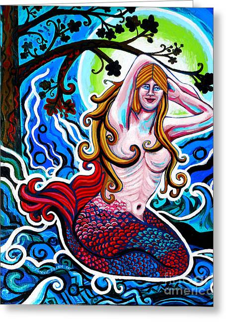 Canvas Panel Greeting Cards - Moonlit Mermaid Greeting Card by Genevieve Esson