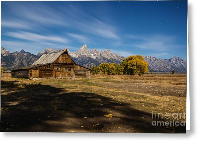 Moonlit Night Greeting Cards - Moonlit Mormon Barn at Grand Teton NP Greeting Card by Vishwanath Bhat