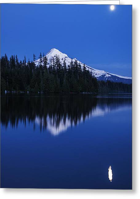Quite Greeting Cards - Moonlit Mount Hood Blue Hour Greeting Card by Vishwanath Bhat
