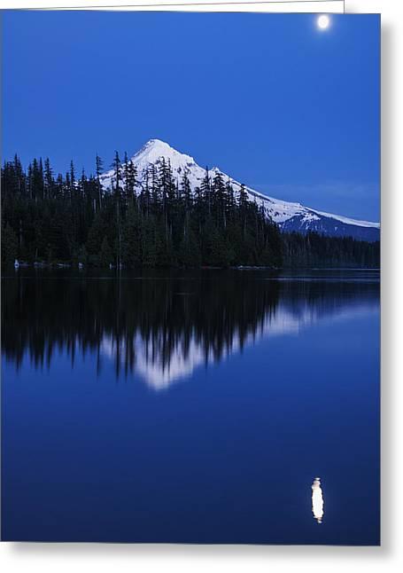 Lost Lake Greeting Cards - Moonlit Mount Hood Blue Hour Greeting Card by Vishwanath Bhat