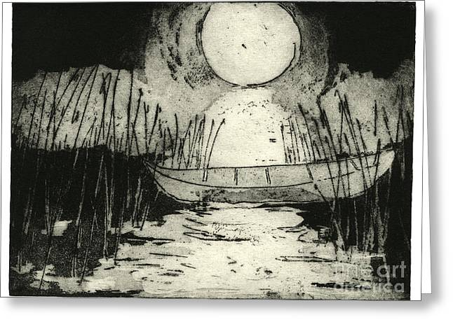 Moonlit Night Drawings Greeting Cards - Moonlit Night - Full Moon - Reeds - Among The Reeds - Canoe - Etching - Fine Art Print - Stock Image Greeting Card by Urft Valley Art