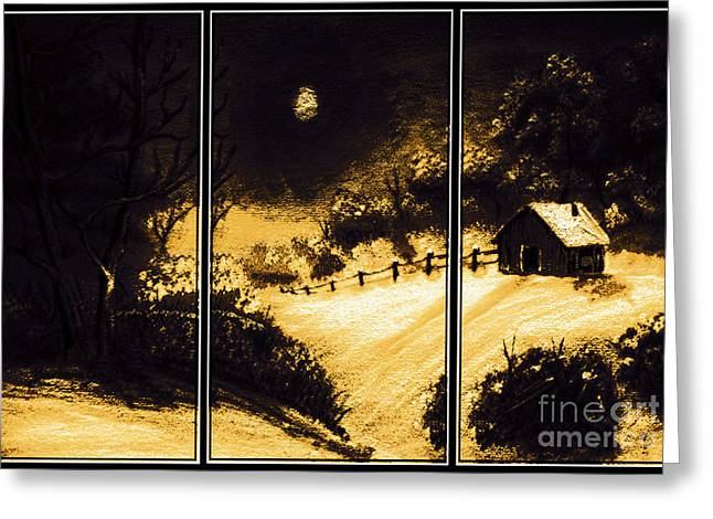 Snow On The Ground Greeting Cards - Moonlit Night Triptych Greeting Card by Barbara Griffin