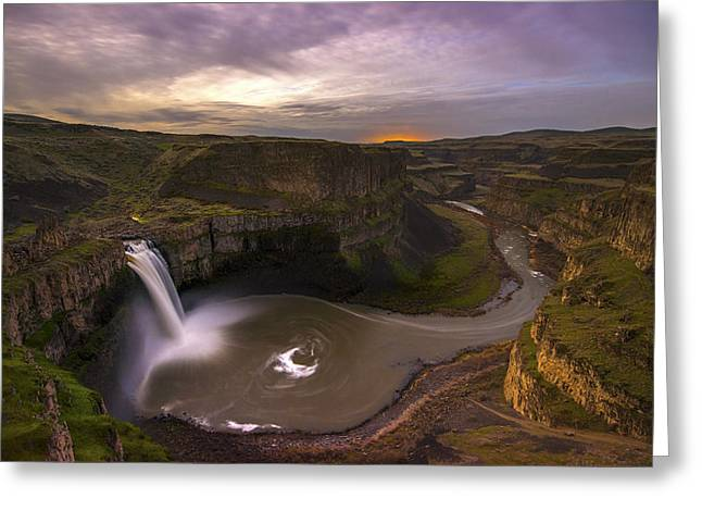 """spokane Falls"" Greeting Cards - Moonlit Palouse Falls Greeting Card by Dustin  LeFevre"