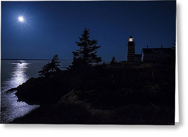 West Quoddy Head Lighthouse Greeting Cards - MoonLit Panorama West Quoddy Head Lighthouse Greeting Card by Marty Saccone