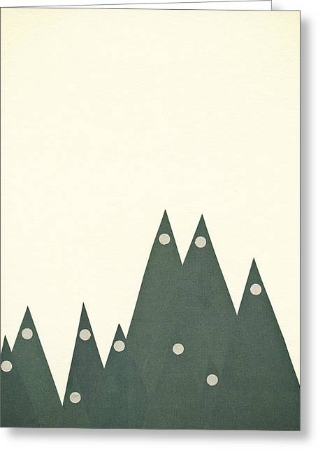 Moonlit Peaks Greeting Card by Cassia Beck