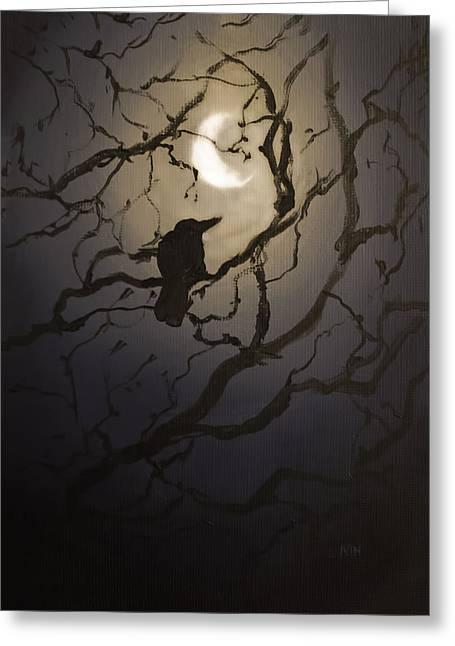 Eerie Greeting Cards - Moonlit Perch Greeting Card by Melissa Herrin