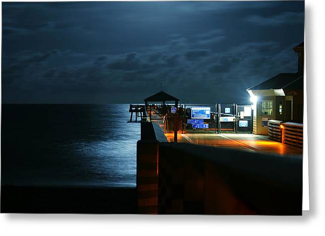 Night Scenes Greeting Cards - Moonlit Pier Greeting Card by Laura  Fasulo