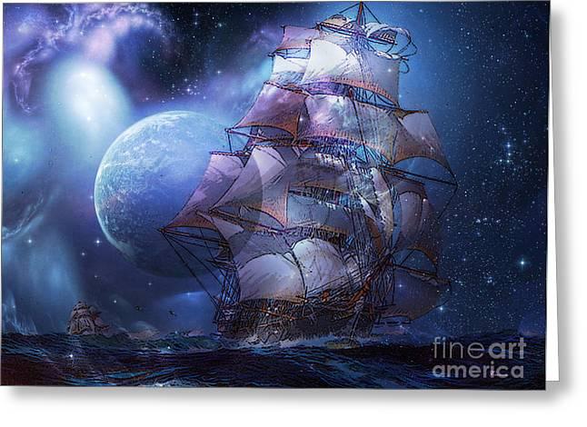 Sea Moon Full Moon Mixed Media Greeting Cards - Moonlit Sail  Greeting Card by Tammera Malicki-Wong
