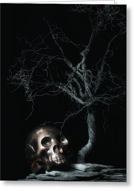 Creepy Greeting Cards - Moonlit Skull and Tree Still Life Greeting Card by Tom Mc Nemar