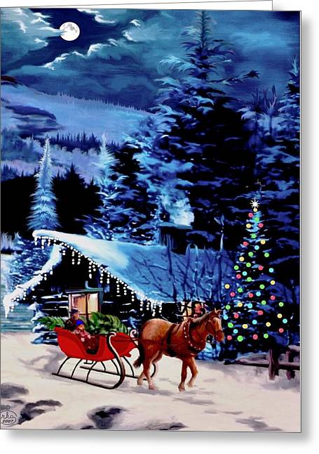 Star Of Bethlehem Paintings Greeting Cards - Moonlit Sleigh Ride Greeting Card by Ronald Chambers