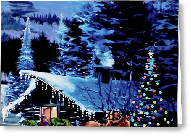 Moonlit Sleigh Ride Greeting Card by Ronald Chambers