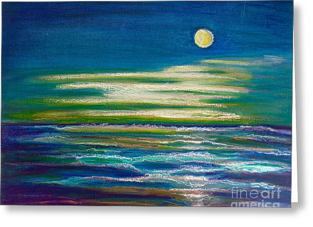 Sea Moon Full Moon Pastels Greeting Cards - Moonlit Tide Greeting Card by D Renee Wilson