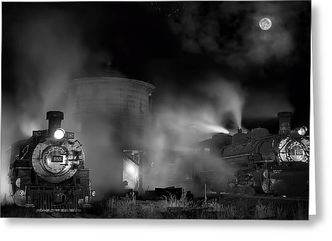 Narrow Gauge Steam Train Greeting Cards - Moonlit Twins Greeting Card by Ken Smith
