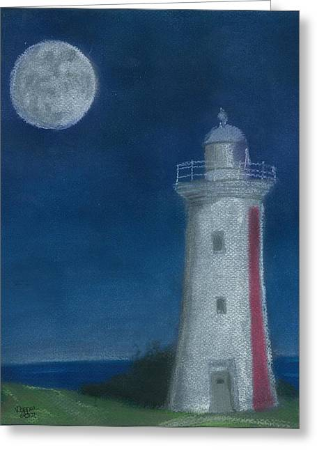 Beach House Pastels Greeting Cards - Moonlit Greeting Card by Valerie Copper