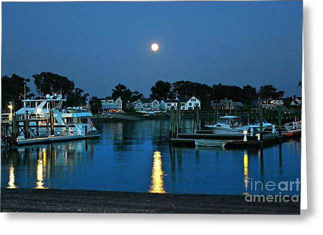 Sea Moon Full Moon Greeting Cards - Moonlit Waters - Super Moon 2014 Greeting Card by Judy Palkimas