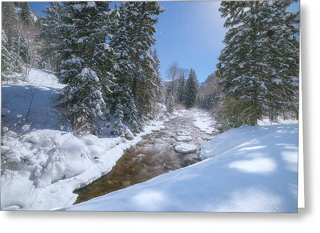 Exposure Framed Prints Greeting Cards - Moonlit Winter Stream Greeting Card by Darren  White