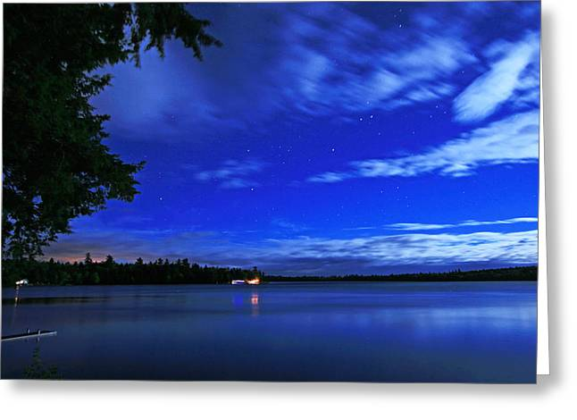 Maine Landscape Greeting Cards - Moonlit Wispy Clouds at the Lake Greeting Card by Barbara West