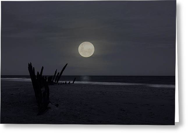 Sea Moon Full Moon Greeting Cards - Moonlit Wreck Greeting Card by Heather Provan