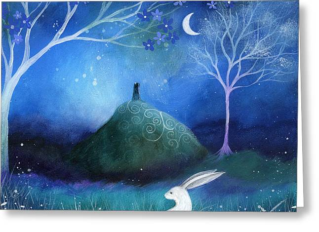 White Blue Greeting Cards - Moonlite and Hare Greeting Card by Amanda Clark