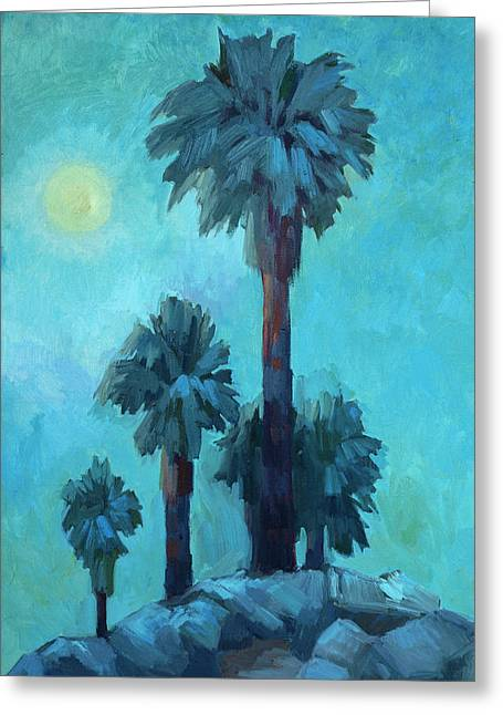 Dated Greeting Cards - Moonrise and Palms Greeting Card by Diane McClary