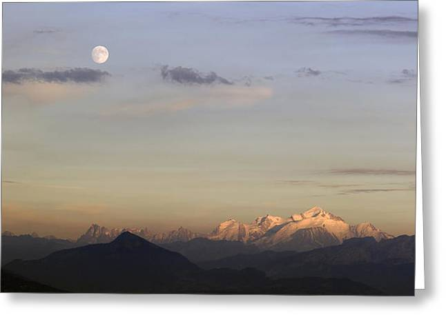 Moonrise Greeting Cards - Moonrise and Sunset Greeting Card by Patrick Jacquet