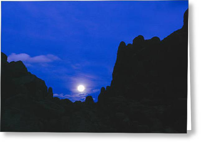 Backlit Greeting Cards - Moonrise At Alabama Hills In Sierra Greeting Card by Panoramic Images