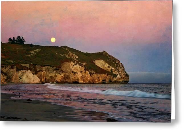 Moon Beach Greeting Cards - Moonrise at Avila Beach Greeting Card by Nikolyn McDonald