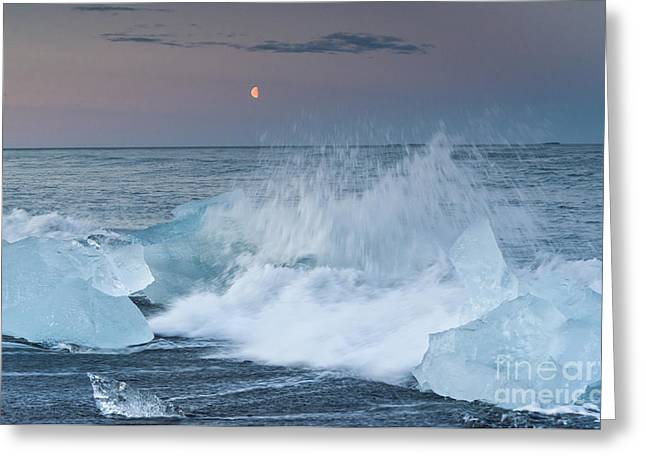 Icelandic Greeting Cards - Moonrise at Jokulsarlon Iceland Greeting Card by Ning Mosberger-Tang