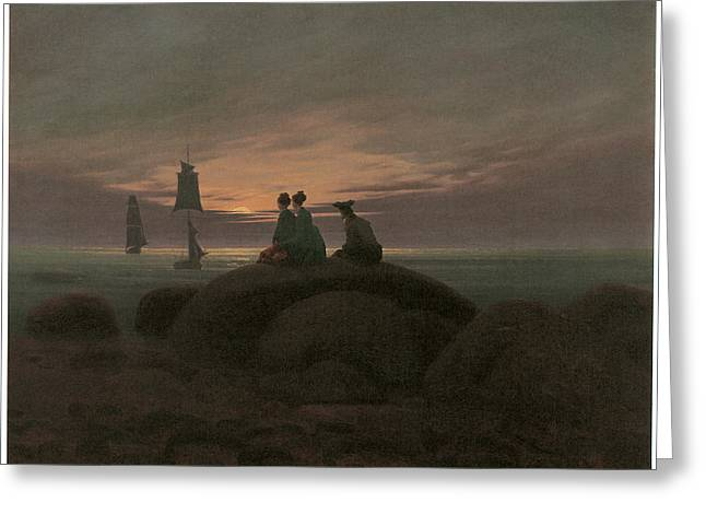 Sailing At Night Greeting Cards - Moonrise at the Sea Greeting Card by Caspar David Friedrich