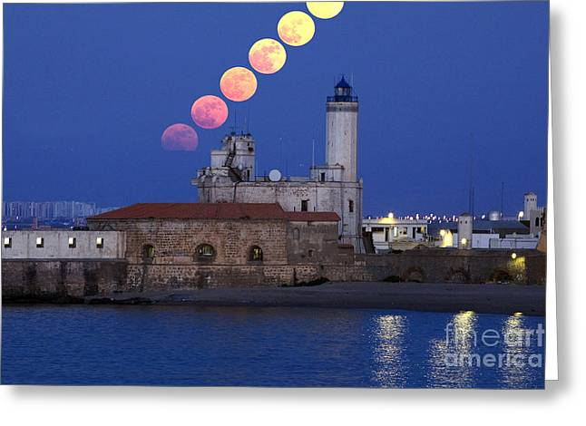 Sea Moon Full Moon Greeting Cards - Moonrise Greeting Card by Babak Tafreshi