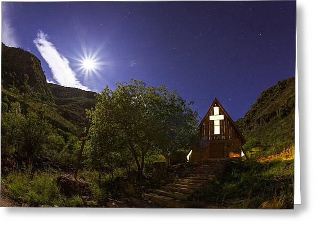 Night Scenery Greeting Cards - Moonrise Chapel Greeting Card by Aaron S Bedell