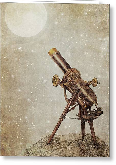 Star Drawings Greeting Cards - Moonrise Greeting Card by Eric Fan