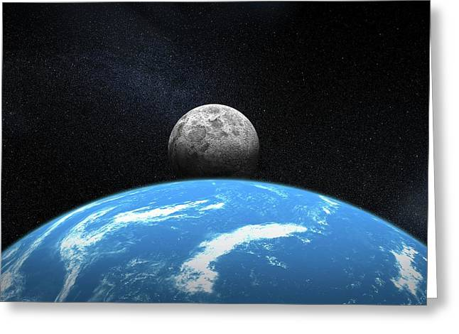 Moonrise From Earth Greeting Card by Henning Dalhoff