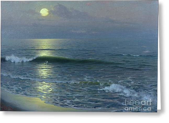 Marina Night Greeting Cards - Moonrise Greeting Card by Guillermo Gomez y Gil