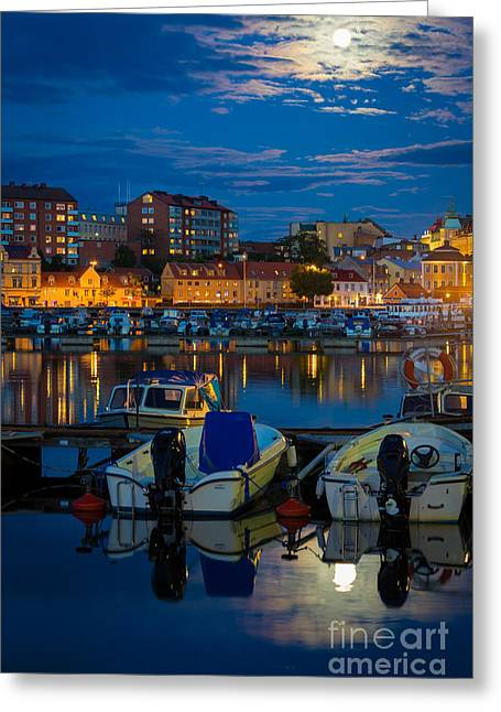 Moonrise Greeting Cards - Moonrise in Karlskrona Greeting Card by Inge Johnsson