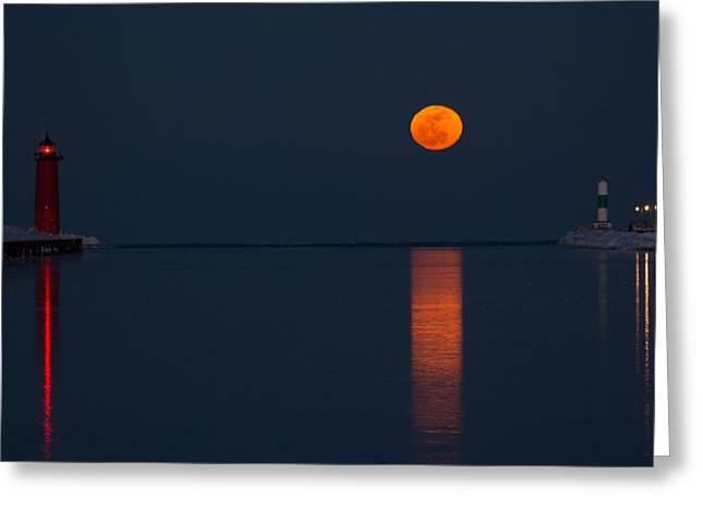 Moonrise Greeting Cards - Moonrise Kenosha Harbor Greeting Card by Gerald DeBoer