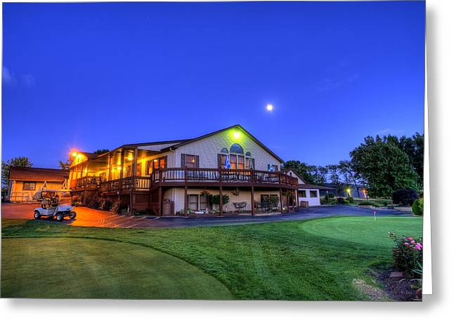 Golfcourses Greeting Cards - Moonrise on Golfcourse Greeting Card by David Dufresne