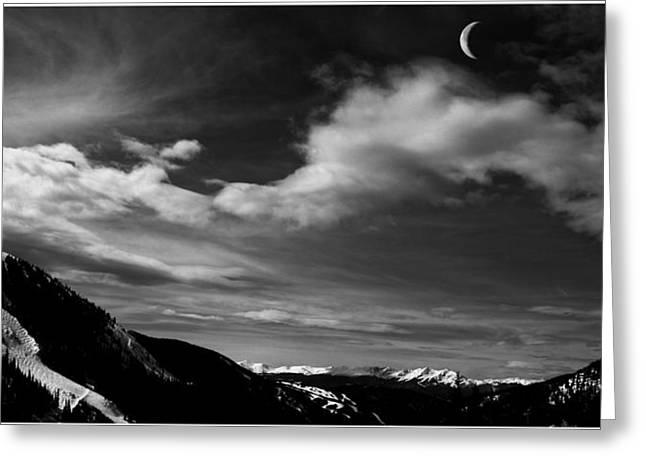 Snow Cornice Greeting Cards - Moonrise on the Rockies Greeting Card by Wayne King