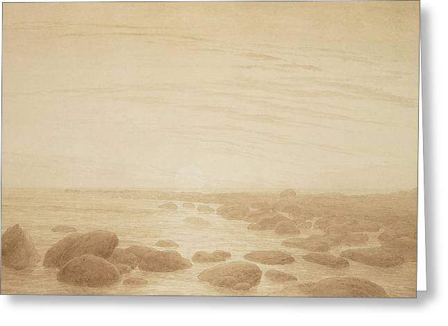 Moonrise Greeting Cards - Moonrise on the Sea Greeting Card by Caspar David Friedrich