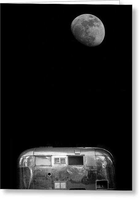 Monochromatic Greeting Cards - Moonrise over Airstream Greeting Card by Edward Fielding