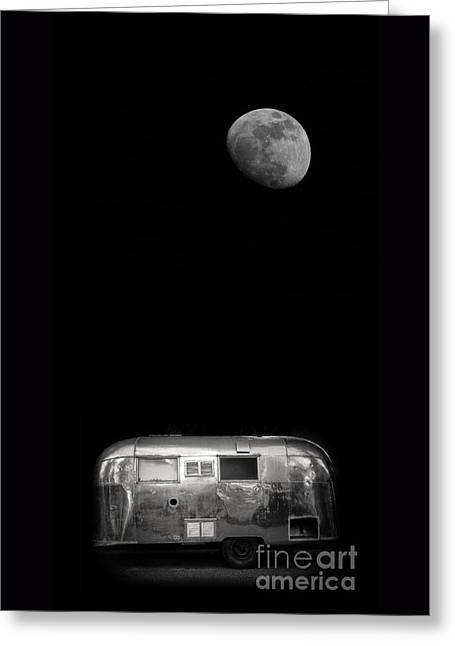 Moon Rise Greeting Cards - Moonrise over Airstream Greeting Card by Edward Fielding