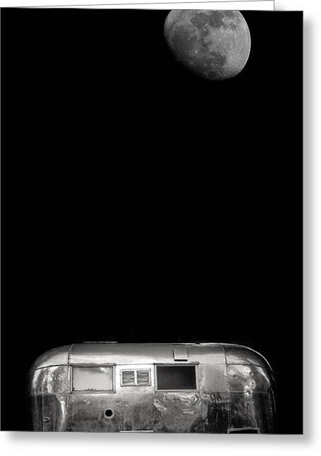 Rv Greeting Cards - Moonrise over Airstream Phone Case Greeting Card by Edward Fielding