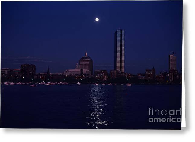Moonrise Over Boston Skyline July 1982 Greeting Card by Thomas Marchessault